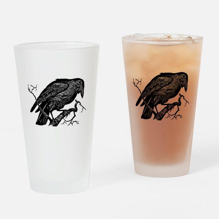 Vintage Raven in Tree Illustration Drinking Glass