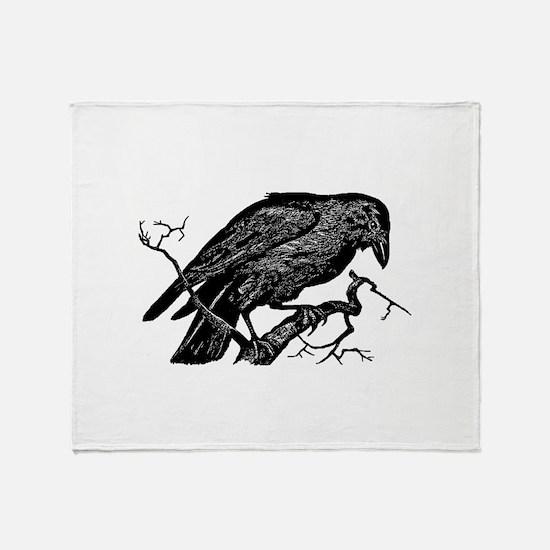 Vintage Raven in Tree Illustration Throw Blanket