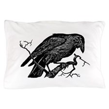 Vintage Raven in Tree Illustration Pillow Case