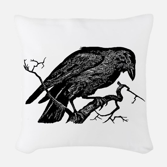 Vintage Raven in Tree Illustration Woven Throw Pil