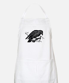 Vintage Raven in Tree Illustration Apron