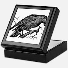 Vintage Raven in Tree Illustration Keepsake Box