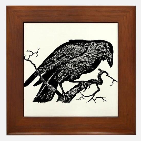 Vintage Raven in Tree Illustration Framed Tile
