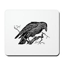 Vintage Raven in Tree Illustration Mousepad