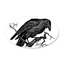 Vintage Raven in Tree Illustration Oval Car Magnet