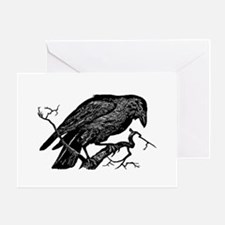 Vintage Raven in Tree Illustration Greeting Card