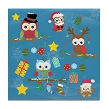 Christmas Owls Tile Coaster