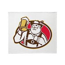 Bavarian Beer Drinker Mug Retro Throw Blanket