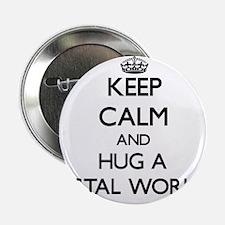 "Keep Calm and Hug a Postal Worker 2.25"" Button"