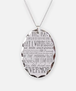 Raven Nevermore Necklace Oval Charm