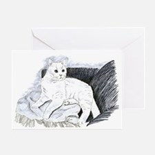 White Cat Greeting Cards