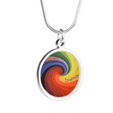 Diversity square1 Silver Round Necklace