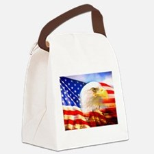 American Bald Eagle Collage Canvas Lunch Bag
