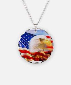 American Bald Eagle Collage Necklace