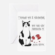Heart Shredder Kitty Greeting Cards (Pk of 10)