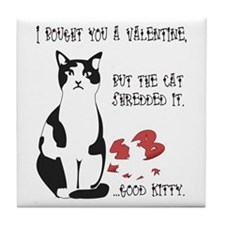 Heart Shredder Kitty Tile Coaster