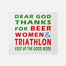 Beer Women and Triathlon Throw Blanket