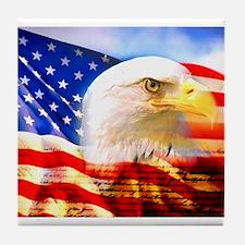 American Bald Eagle Collage Tile Coaster