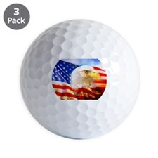 American Bald Eagle Collage Golf Ball