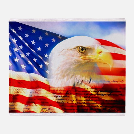 American Bald Eagle Collage Throw Blanket