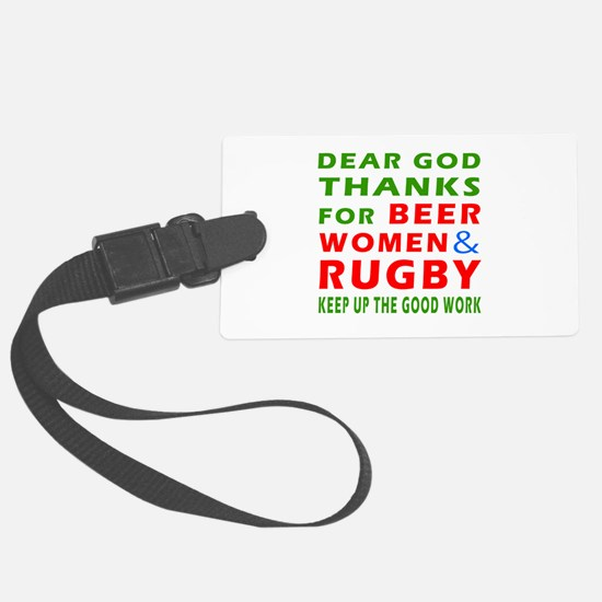 Beer Women and Rugby Luggage Tag