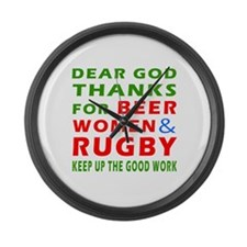 Beer Women and Rugby Large Wall Clock