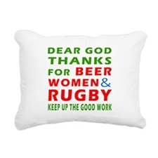 Beer Women and Rugby Rectangular Canvas Pillow