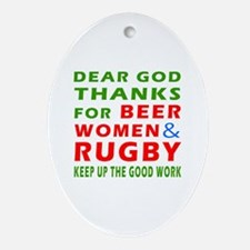 Beer Women and Rugby Ornament (Oval)
