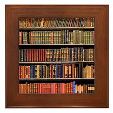 Old Books on Library Shelf Framed Tile
