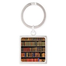 Old Books on Library Shelf Square Keychain