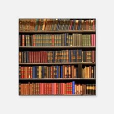 "Old Books on Library Shelf Square Sticker 3"" x 3"""