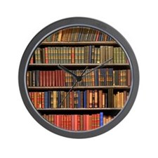 Old Books on Library Shelf Wall Clock