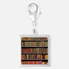 Old Books on Library Shelf Silver Square Charm
