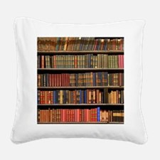 Old Books on Library Shelf Square Canvas Pillow