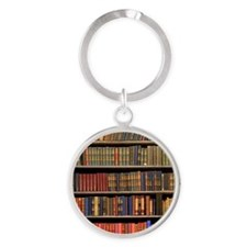 Old Books on Library Shelf Round Keychain
