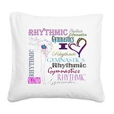 I Heart Rhythmic Gymnastics Square Canvas Pillow