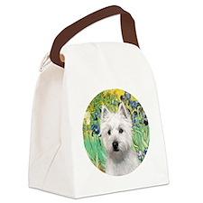 J-ORN-Irises-Westie-P Canvas Lunch Bag