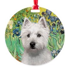 J-ORN-Irises-Westie-P Ornament