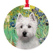 J-ORN-Irises-Westie-P Round Ornament