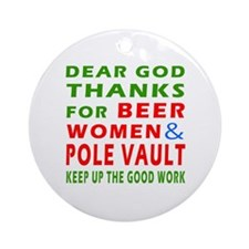 Beer Women and Pole Vault Ornament (Round)