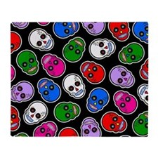 Sugar Skull Day of the Dead Print Throw Blanket