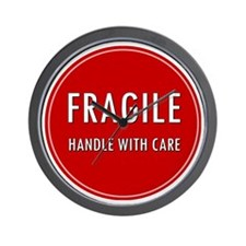 Fragile, Handle with care Wall Clock