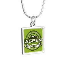 Aspen Green Silver Square Necklace