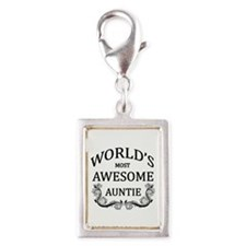 World's Most Awesome Auntie Silver Portrait Charm