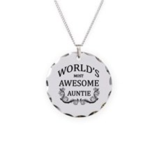 World's Most Awesome Auntie Necklace Circle Charm