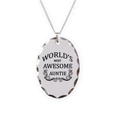 World's Most Awesome Auntie Necklace Oval Charm