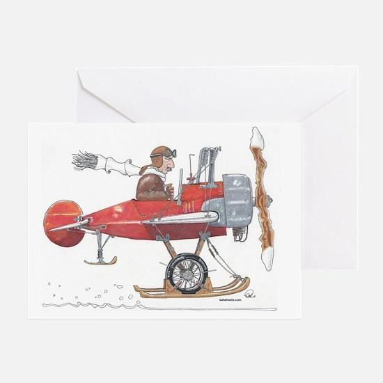 Red Ski Plane Greeting Card