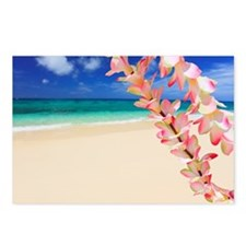 Beach with flowers in for Postcards (Package of 8)