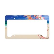 Beach with flowers in foregro License Plate Holder