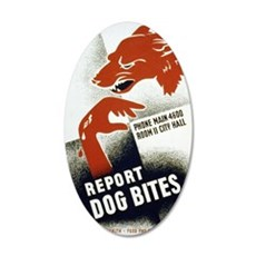 Retro Report Dog Bites 35x21 Oval Wall Decal